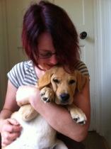 Tanya cuddling labrador - furry muses